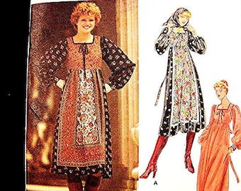 1970s Hippie Boho Peasant Dress Pattern  Misses size 14 UNCUT Empire Waist Peasant Dress with Scarf