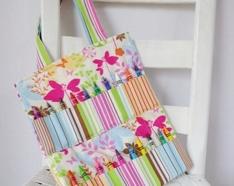 Springtime Birds and Flowers Crayon Bag Coloring Tote Girls Birthday Gift Crayon Roll Springtime Travel Toy Birds