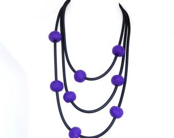 purple necklace,  felt ball chunky jewelry,