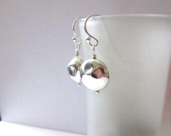 Coin Earrings, Sterling Silver Earrings on Kidney Ear wires, Simple Earrings, Modern Jewelry, Eco Friendly