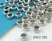 7mm Large Hole Beads Pewter Smooth Bead, Antique Silver (PWT 235) 20 pcs BlueEchoBeads