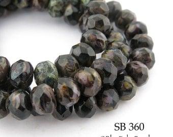 8mm Earth Brown Faceted Czech Glass Rondelle Beads (SB 360) 12 pcs BlueEchoBeads