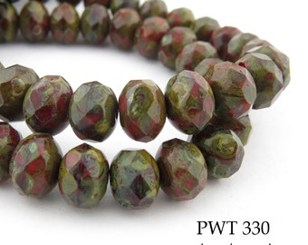 8mm Picasso Czech Glass Beads Faceted Rondelle Old Brick (SB 330) 12 pcs BlueEchoBeads