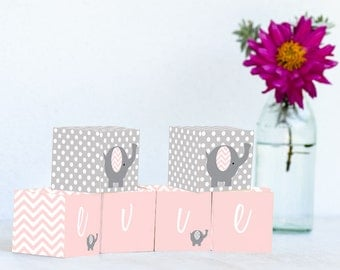 Pink Chevron Elephant Name Blocks, Nursery Decor, Nursery Name Personalized Wooden Blocks