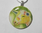 Yellow Goat pendant / wearable art / goat jewelry / farm animal necklace / N236