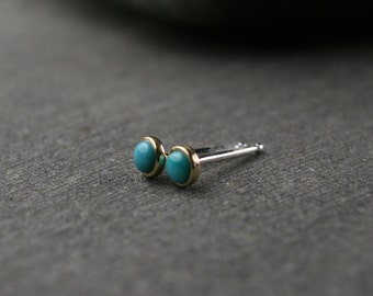 TIny untreated natural turquoise and 18k yellow gold bezel set stud earrings 3mm