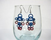 Captain America Themed Chainmaille Maille Man Earrings