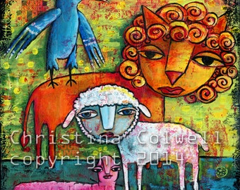 "Lion and a Lamb Instant Download 7.5 x 7.5""  printable art from original mixed media contemporary folk art"