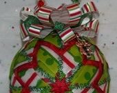 Quilted Ornaments Quilt Ball Ornaments Red Green White Stripe Beaded Hanger Candy Cane Charm