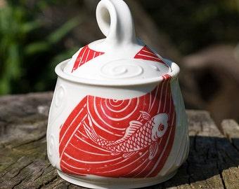 Fishy Fishy Fish Red Sugar Bowl by Bunny Safari