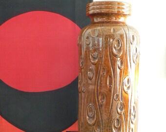 large west germany 1970s brown beige ceramic vase / retro floor vase by scheurich / mid century modern vase
