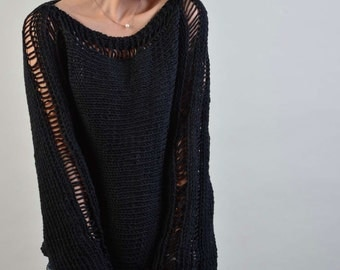 Hand Knit Woman Sweater - Eco Cotton sweater in Black