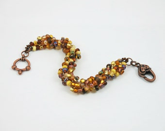 Brown Gold Topaz Spiral Beadweave Bracelet Copper Heart Clasp
