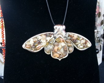 Moth necklace with sea shells