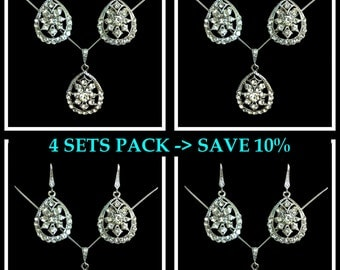 Bridesmaids Jewelry Set, Art Deco Bridal Earrings, Gatsby Wedding Necklace, Bridal Jewelry Set, Swarovski Crystal Bridesmaids Gifts, DECO 4