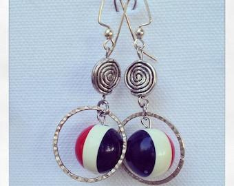 Silver Earrings, Beaded Hoop Earrings, Handmade Earrings, Billiard Earrings, Nickel Free Earrings, Upcycled Earrings, Hoop Earrings