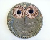 MOVING SALE vintage owl plate wall hanging homemade 60s 70s