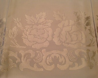 50s Damask Tablecloth and Napkin Set White on White Set of 8 NOS Unused Old Stock