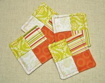 SALE - 20% OFF! Folded Fabric Coasters, Tropical Colors, Orange & Green, Set of 4, Reversible, Candle Mat, Pad, Hot Pad, Mug Rug