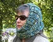 Hat hood Cowl scarf neckwarmer, hand knit teal blue green soft wool warm winter women wide dread head wrap, stretch crochet i621