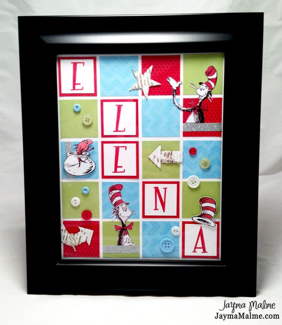 Items Similar To Vintage Dr Seuss Cat In The Hat Theme Personalized Baby Child Nursery Room