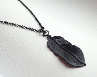 FEATHER Matte Black Long Necklace