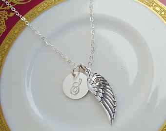 Personalized Angels Wing Necklace, Sterling Silver, Initial Charm, Memorial Keepsake Jewelry, Bridesmaids, Mothers, Gift