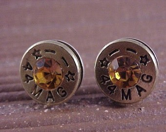 Sterling Silver Bullet Earrings 44 Magnum Brass Shell with Topaz Swarovski Crystal