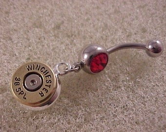 Belly Ring with Winchester 38 Special Bullet Charm