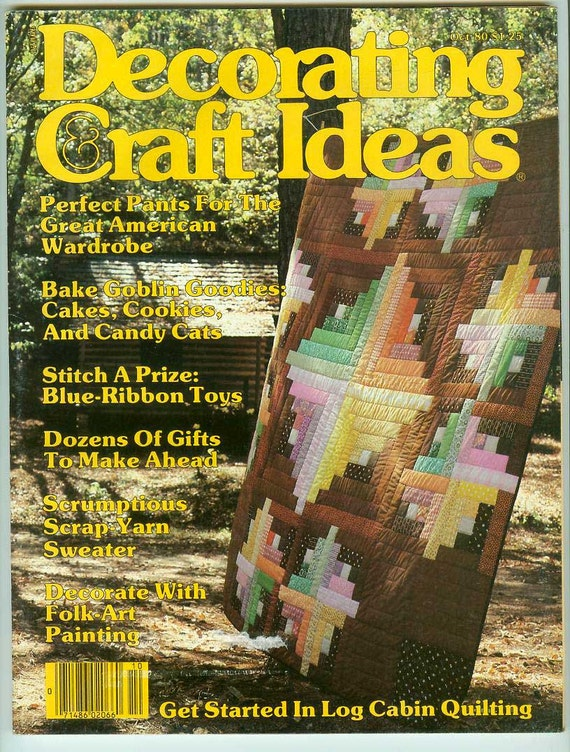 Vintage Retro Decorating & Craft Ideas Magazine October 1980 Patterns for Quilting Knitting Toys