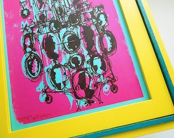 CAMEOS #027 | retro cartoon style family portraits, hot pink + bright blue, original silkscreen print nursery art by Kathryn DiLego (8x10)