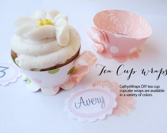 48 ASSEMBLED Tea Cup Cupcake Wraps Whimsical Baby Boy Shower, Birthday, Christening, Damask, Polka Dots, Stripes Tea Party Decorations