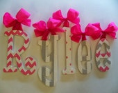 Custom Nursery Letters- Baby Girl Nursery Decor-GLITTERED Pink and Grey- Personalized Name- Wooden Hanging Letters -Wall Letters