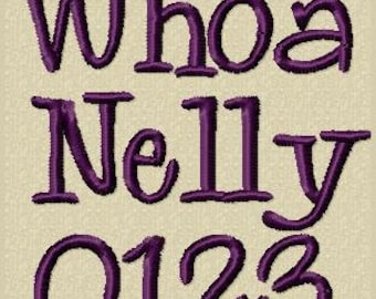 The Whoa Nelly embroidery alphabet includes 3 sizes
