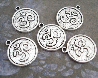 Round Om Charms Pendants Silver Antiqued 5 Yoga Symbol