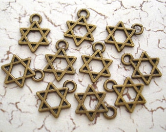 Star of David Bronze Charms Tiny