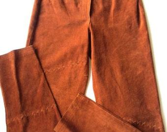 Vintage Pia Ruca Leather Western Pants Beaded Leather Rust Suede Pants Seed Beaded Pocket High Waisted Suede Pants Women's Suede Pants