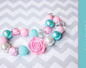 Chunky necklace { Candy Pink } aqua, pink, white, Easter, First Birthday, Cake smash, Spring baby photography prop