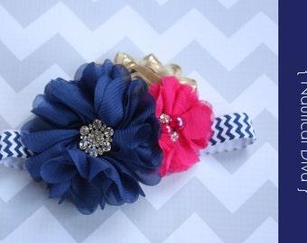 baby headband { Nautical Diva } Navy, hot pink, gold, Cruise, Summer Birthday, navy chevron, cake smash photography prop