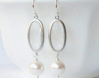 ON SALE Pearl Clear Silver Crystal Dangle  Earrings