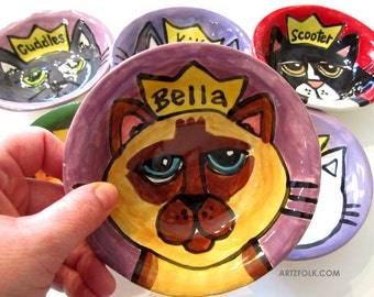 CUSTOM small Ceramic PErsonalized Queen Kitty Cat Dish Bowl