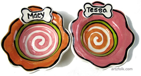 CUSTOM Small Dog Bowl handmade pottery