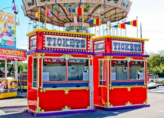 Two Carnival Ticket Booths Fine Art Print- Carnival Art, County Fair, Nursery Decor, Home Decor, Children, Baby, Kids
