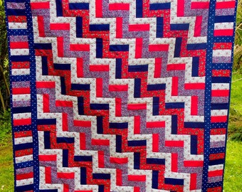 Red, white and blue Rail Fence patchwork quilt