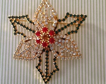 Vintage Holiday Christmas Holly Berries Rhinestone Brooch Pin Jewelry