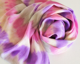 Infinity Scarf - Hand Painted Circle Scarves Pink Rose Lavender Purple Cream Gray Grey White