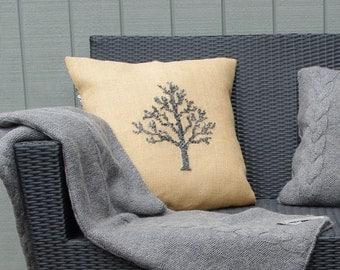Needlepoint pattern BIRCH - grey,Scandinavian cross stitch,burlap pillow cover,hessian cushion, wool,diy embroidery,swedish, Anette Eriksson