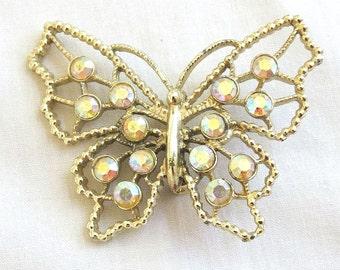 Vintage Aurora Borealis Rhinestone Butterfly Brooch