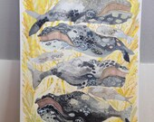 Bowhead Whales and Golden Coral - Original painting