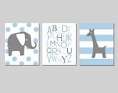 Blue Gray Nursery Wall Art Trio Baby Boy - Polka Dot Elephant, Alphabet, Stripe Giraffe - Set of Three 8x10 Prints - CHOOSE YOUR COLORS
